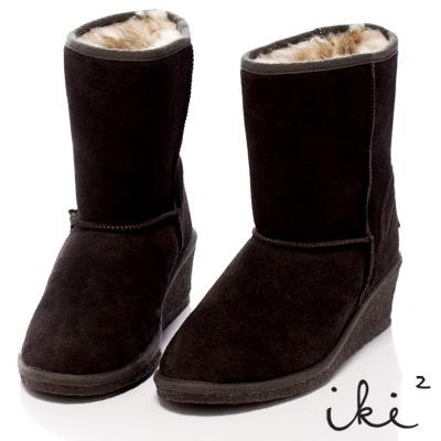 iki2甜美加分-美腿小楔跟好感雪靴-深灰