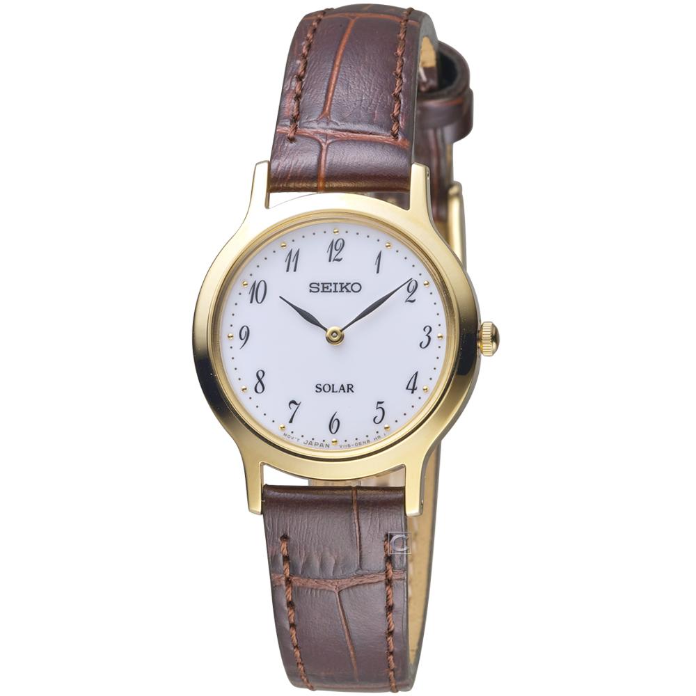 SEIKO精工簡約經典時尚太陽能腕錶(V115-0BS0G SUP370P1)-27mm