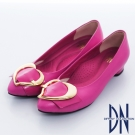 DN 巴黎時尚 全真皮尖頭拼接金屬飾扣跟鞋 桃