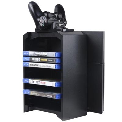PS4通用 多功能主機直立式碟片收納散熱底座組