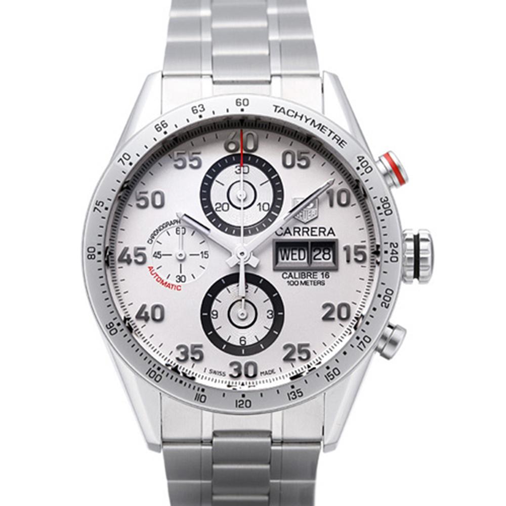 TAG HEUER 豪雅 CARRERA 系列機械計時數字腕錶-白/43mm