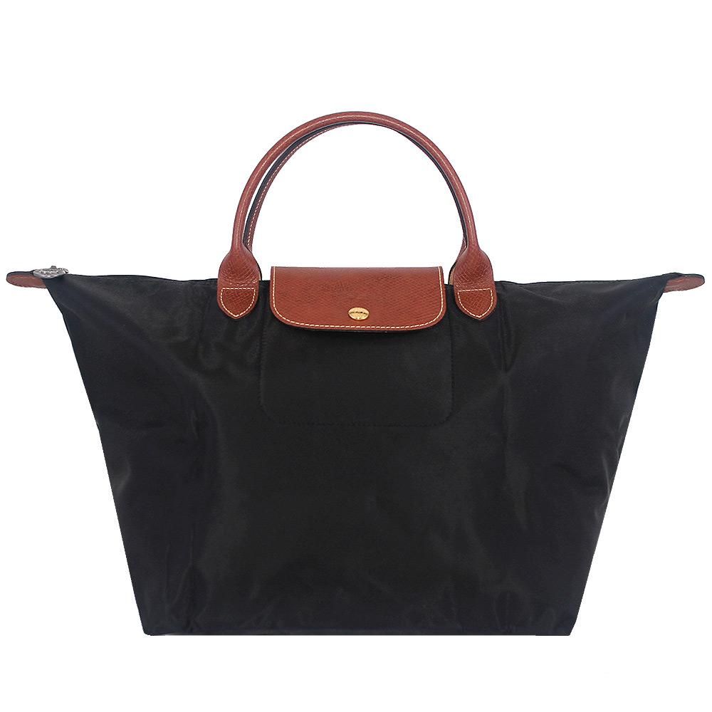 Longchamp 黑色短帶折疊水餃包(中)