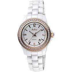 Diadem 黛亞登 菱格紋晶鑽陶瓷腕錶-銀x玫塊金/35mm