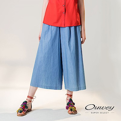 OUWEY歐薇 輕薄好感牛仔寬褲(藍)