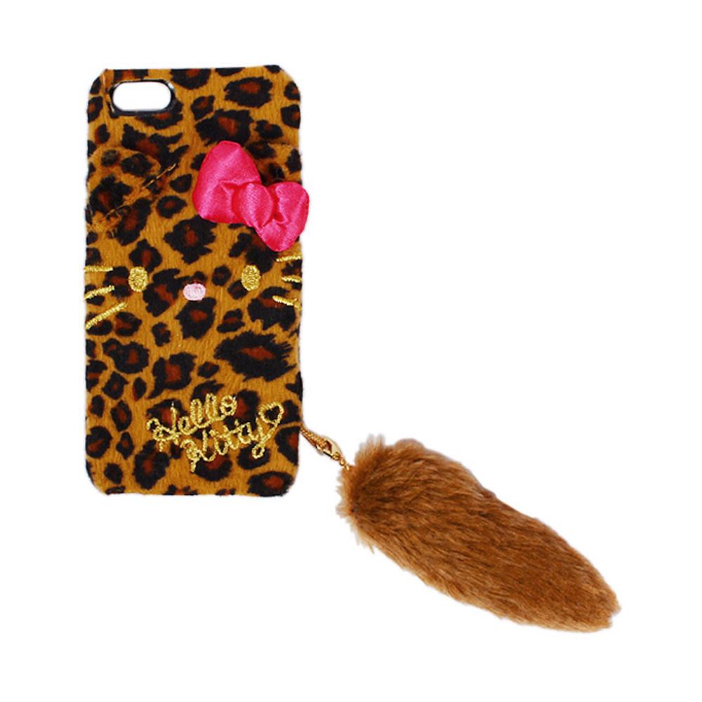 Sanrio HELLO KITTY小花豹造型絨毛iPhone5 5S保護殼