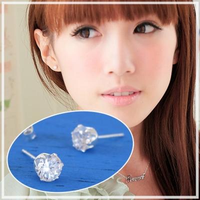 【維克維娜】璀璨.透明美鑽光芒.4mm六爪鑽 925純銀耳環