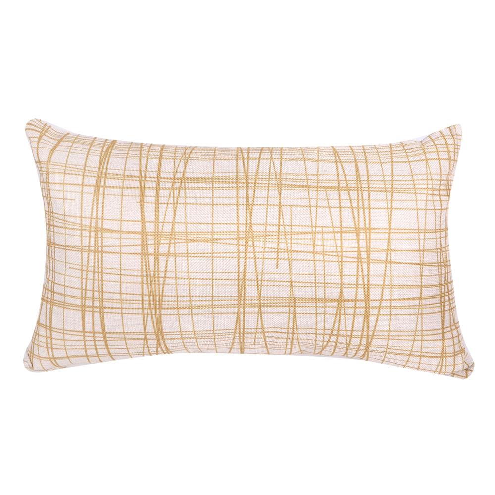 北歐簡約 棉麻舒適長型抱枕.腰靠枕 (線型黃)