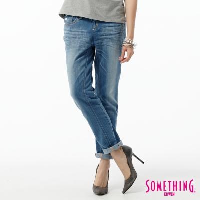 SOMETHING AB褲 後蕾絲繡花TAPERED牛仔褲-女-石洗藍