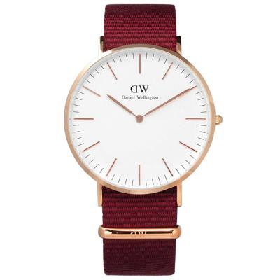 DW Daniel Wellington Classic尼龍手錶-白x玫瑰金x紅/40mm