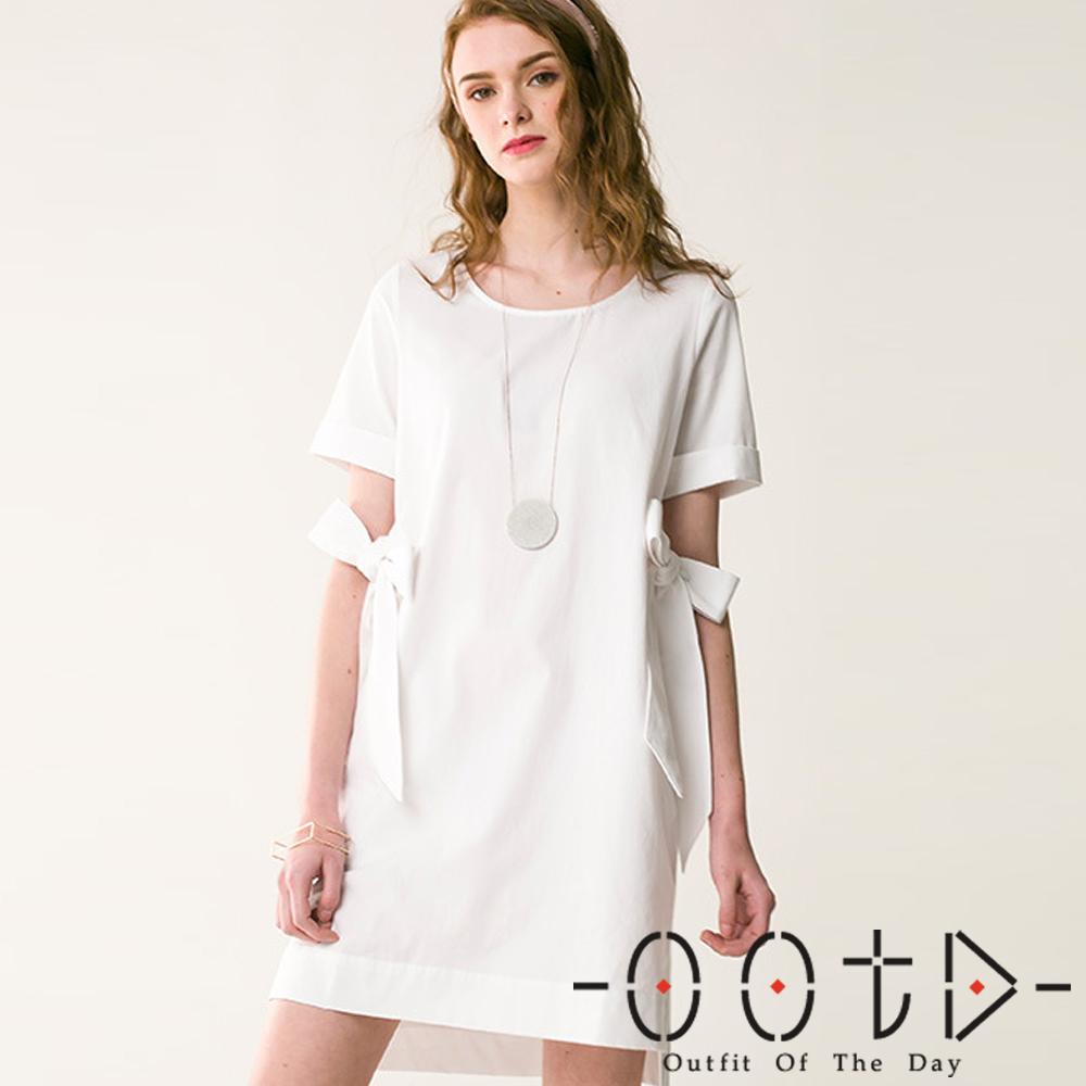 兩側綁帶圓領短袖洋裝(白色)-OOTD