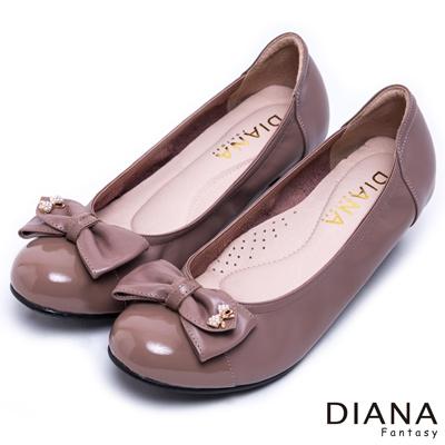 DIANA-日雜百搭-異材質蝴蝶結真皮跟鞋-粉