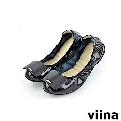 viina 經典款方塊鏡面摺疊鞋MIT-黑色