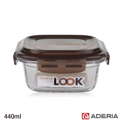 ADERIA 日本進口KOMAX方形強化玻璃密封保鮮盒440ml