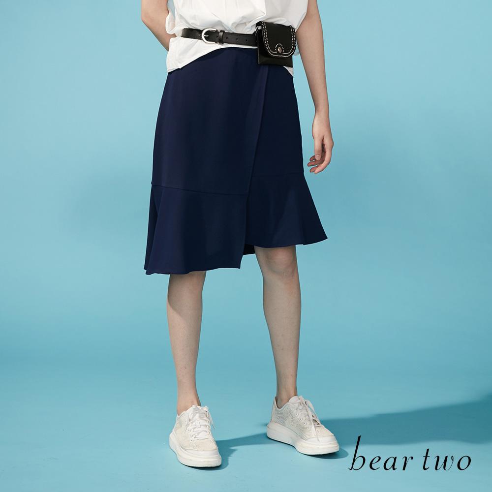 beartwo 不對襯拼接造型及膝片裙(二色)