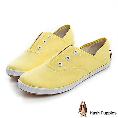 Hush Puppies 馬卡龍系咖啡紗懶人帆布鞋-淺黃色