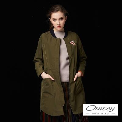 OUWEY歐薇 蜂鳥貼布刺繡長版外套(綠)