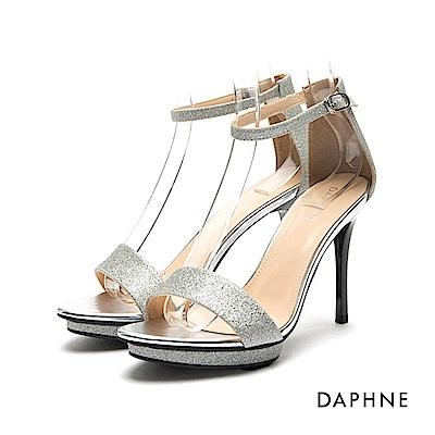 達芙妮DAPHNE 涼鞋-前高後高金蔥一字高跟涼鞋-銀