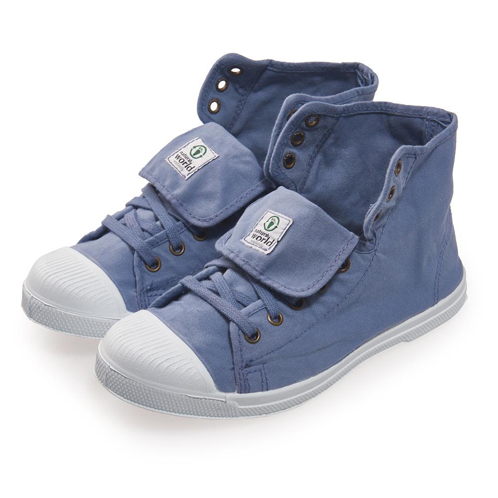 (女)Natural World 西班牙休閒鞋 高筒8孔綁帶基本款*藍色