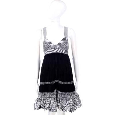 KENZO-I'M MARRAS系列 黑白色格紋百折抓皺洋裝