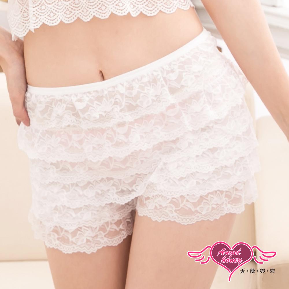 天使霓裳 蕾絲愛戀 棉柔層次蛋糕居家內褲(白F)