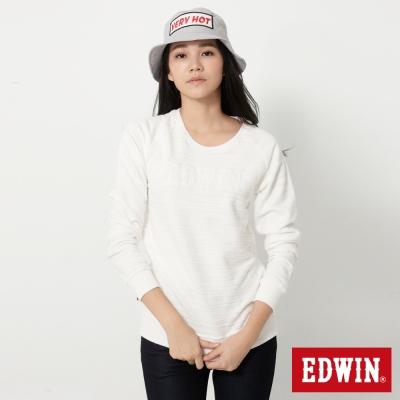 EDWIN 反面剪接拉克蘭袖厚長袖T恤-女-米白