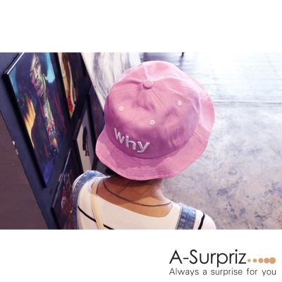 A-Surpriz WHY字母純色漁夫帽(粉)