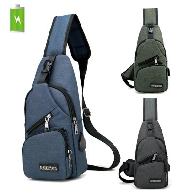 活力揚邑 USB充電孔牛津布斜背包防水戶外休閒單肩包 (藍、綠、黑灰)