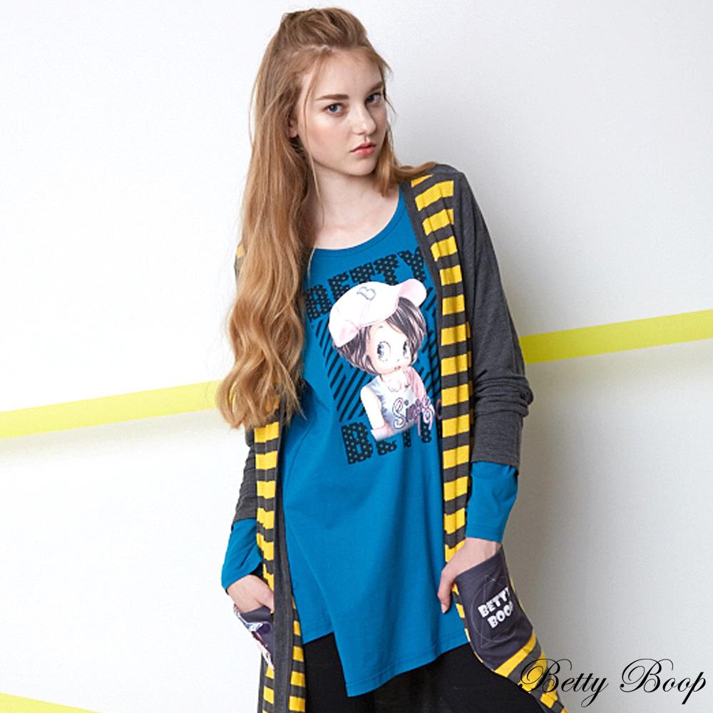 Betty Boop 彩圖不規則剪裁襬傘狀長版上衣(共二色)