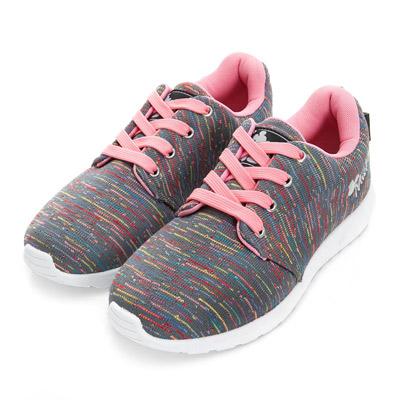 DISNEY-舞動活力-繽紛彩條針織休閒鞋-灰粉
