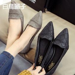 百搭格子紋休閒平底包鞋