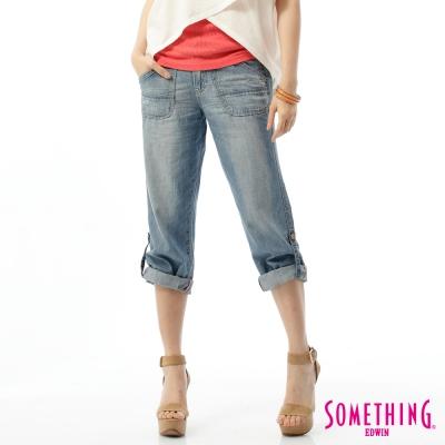 SOMETHING NATURAL EASY JEAN綁帶休閒褲-女-拔淺藍