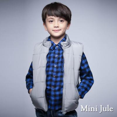 Mini Jule 童裝-鋪棉背心 純色雙口袋拉鍊鋪棉背心(灰)