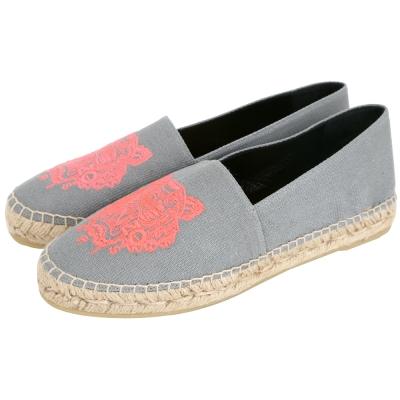KENZO Tiger Espadrilles 霓虹老虎刺繡帆布草編便鞋(女/灰色)