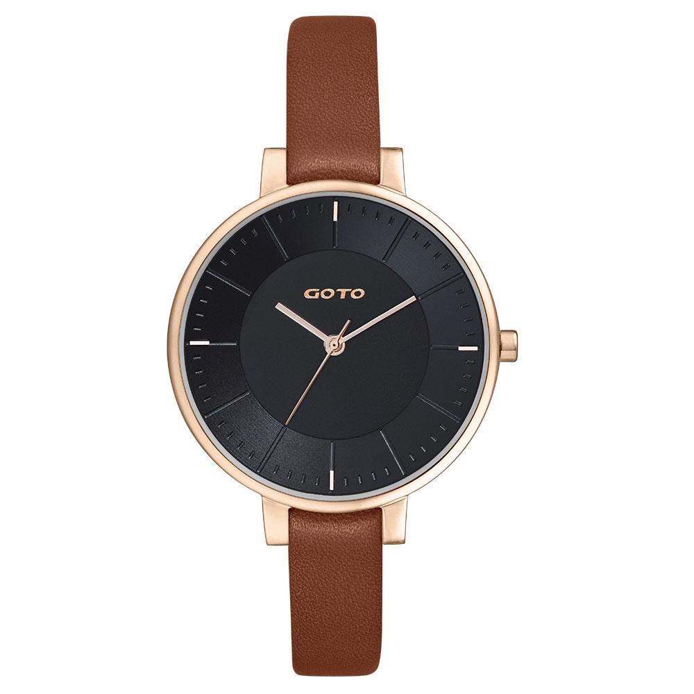 GOTO 緣起不滅簡約時尚手錶-IP玫x黑咖皮/36mm