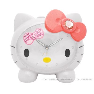 Hello Kitty凱蒂貓可愛臉蛋頭型夜光音樂鬧鐘(經典白)JM-E890KT-W