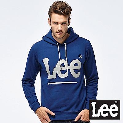 Lee LOGO拉鍊口袋帽Tee-男款-藍