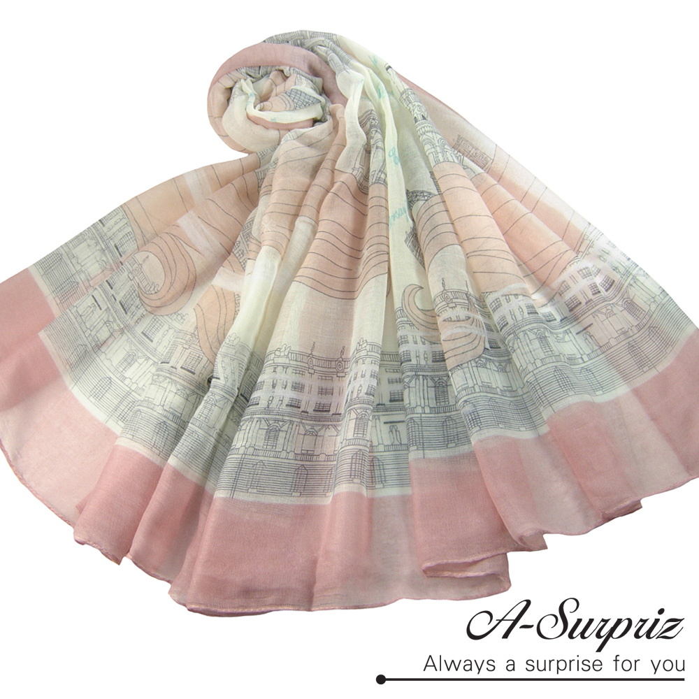 A-Surpriz 歐洲圖畫風情巴黎紗圍巾(唯美粉)