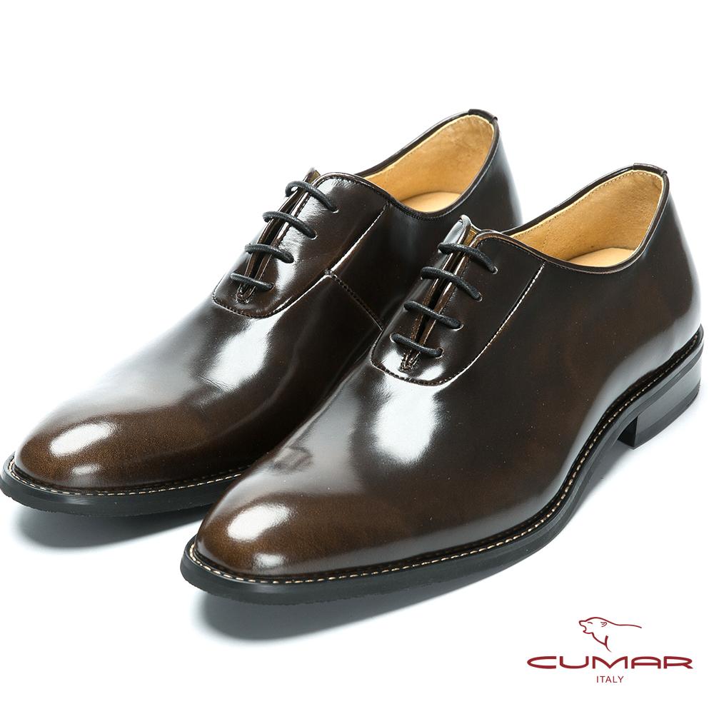 CUMAR MIT台灣製 舒適牛皮牛津鞋-古銅色