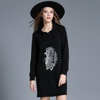 黑色貓頭鷹繡花釘鑽連衣裙-KVOLL