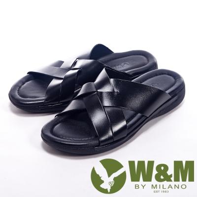 W&M 夏日編織交叉設計涼拖鞋男鞋-黑