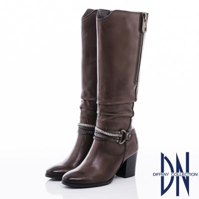 DN率性時尚 MIT質感抓皺紋牛皮長靴 - 咖