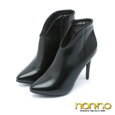 nonno都會性感 俐落剪裁高跟踝靴–黑