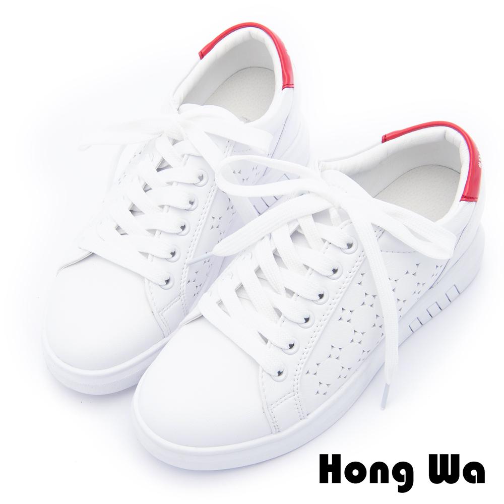 Hong Wa - 潮流時尚塗鴉休閒小白鞋 - 紅白