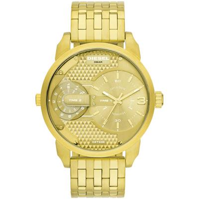 DIESEL Mini Daddy 航行者二地時間個性時尚腕錶-金/46mm