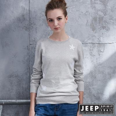 JEEP 女裝 創意異材質拼接星星長袖針織衫-灰色