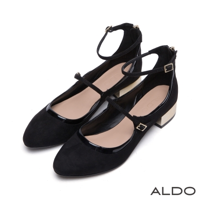 ALDO-復古雙環金屬釦帶瑪莉珍粗跟平底鞋-尊爵黑色