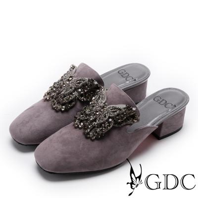 GDC-真皮典雅水鑽蝴蝶低跟拖鞋-槍灰色
