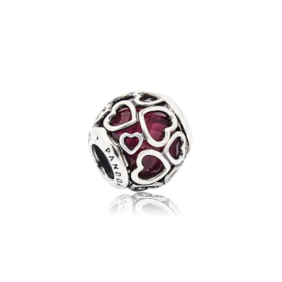 Pandora 潘朵拉  圓形櫻桃紅纏繞的愛 純銀墜飾 串珠