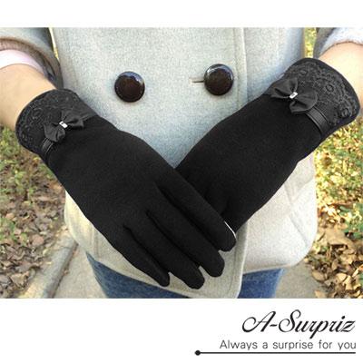 A-Surpriz-夢幻蕾絲蝴蝶結精梳棉觸控手套