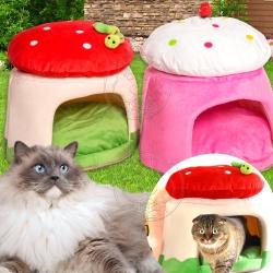 DYY》保暖可愛蘑菇圓型寵物睡窩顏色隨機-46*46*38cm